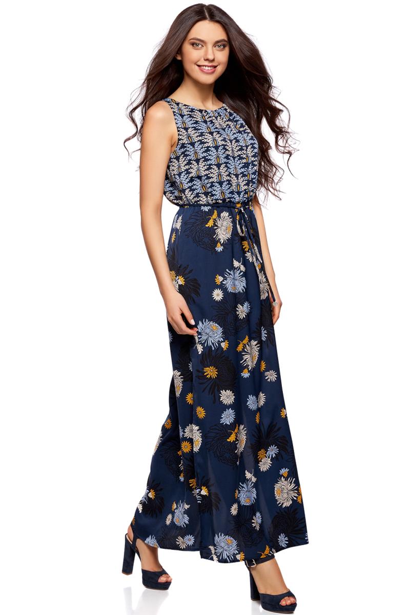 Платье жен oodji Collection, цвет: темно-синий, горчичный, цветы. 21900323-2/42873/7957F. Размер 38-170 (44-170)21900323-2/42873/7957FПлатье макси с резинкой на талии и завязками