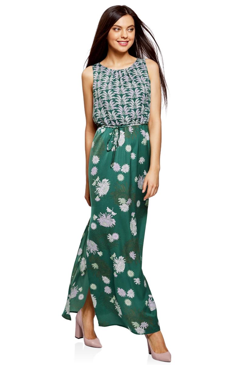 Платье жен oodji Collection, цвет: темно-зеленый, сиреневый, цветы. 21900323-2/42873/6980F. Размер 46-170 (52-170)21900323-2/42873/6980FПлатье макси с резинкой на талии и завязками