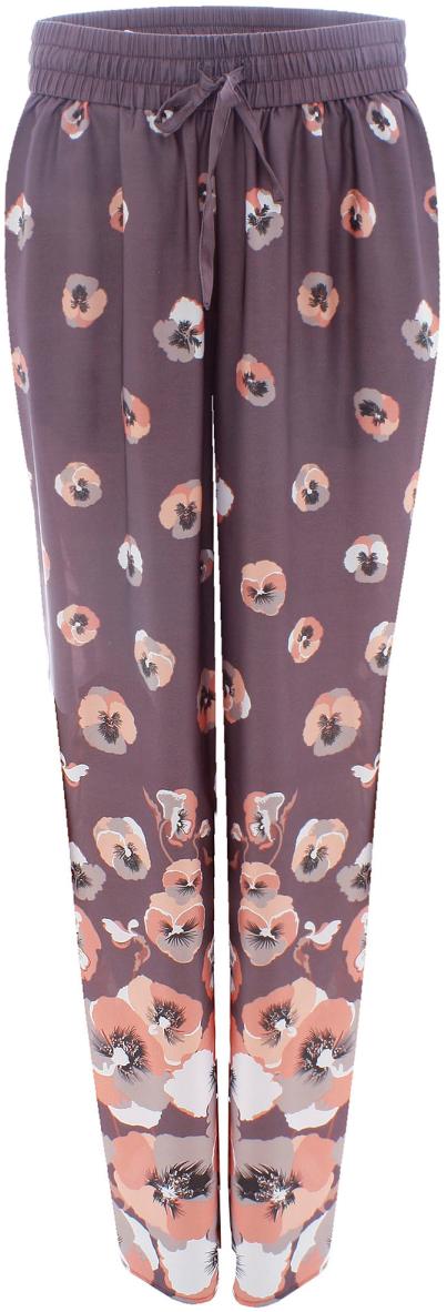 Брюки женские oodji Collection, цвет: темно-серый, розовый. 21700171-1/19613/254AF. Размер 36-170 (42-170)21700171-1/19613/254AFЖенские брюки от oodji свободного кроя на эластичном поясе выполнены из высококачественного материала.