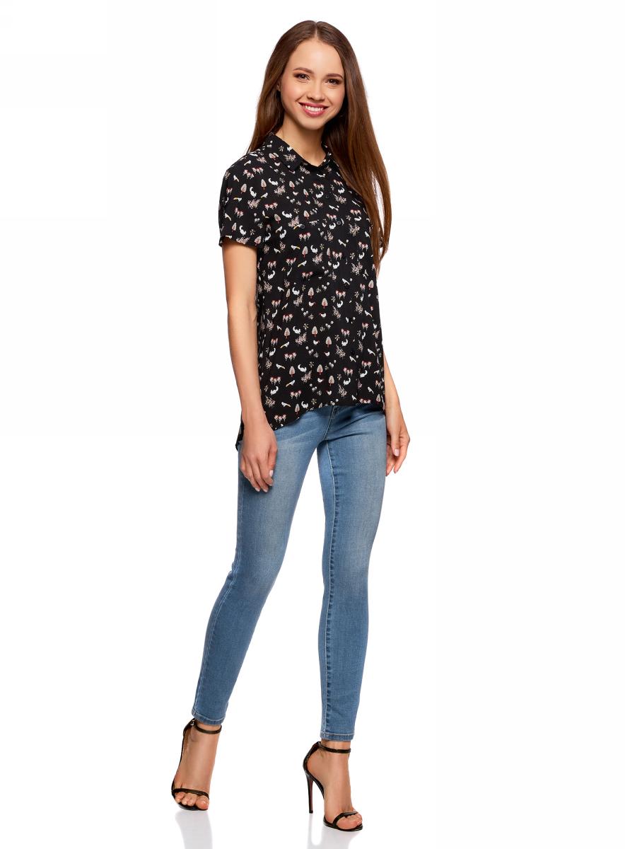 Блузка жен oodji Ultra, цвет: черный, белый. 11400391-3B/24681/2912Q. Размер 38-170 (44-170)11400391-3B/24681/2912QБлузка из вискозы с нагрудными карманами