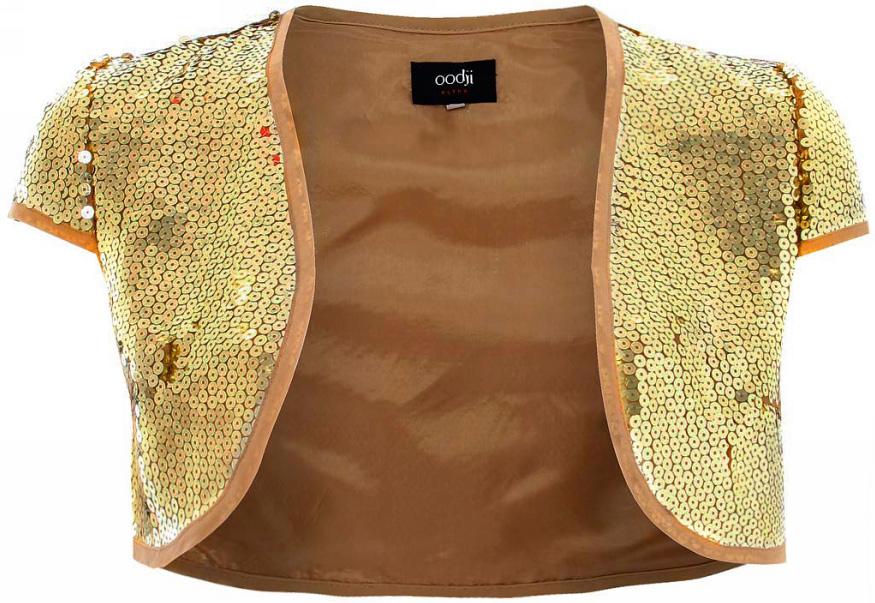 Болеро женское oodji Ultra, цвет: светло-золотой металлик. 11200200M/26386/9700X. Размер 40-170 (46-170)11200200M/26386/9700XБолеро от oodji с короткими рукавами выполнено из высококачественного материала с пайетками.