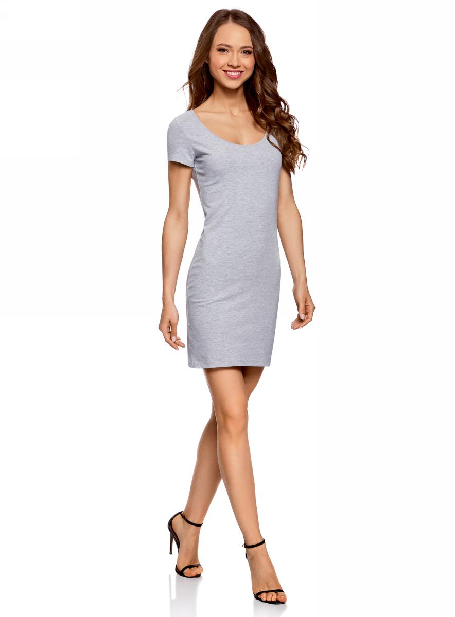 Платье жен oodji Ultra, цвет: светло-серый, черный. 14001182-2/47420/2029Z. Размер M (46)14001182-2/47420/2029ZПлатье трикотажное облегающего силуэта