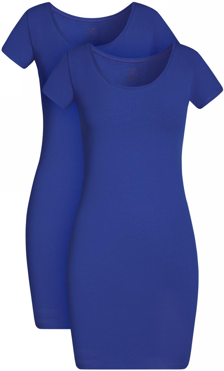 Платье жен oodji Ultra, цвет: синий, 2 шт. 14001182T2/47420/7500N. Размер L (48)14001182T2/47420/7500NПлатье трикотажное (комплект из 2 штук)