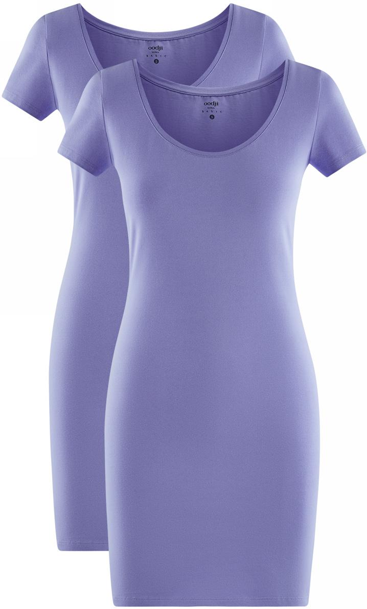 Платье жен oodji Ultra, цвет: сиреневый, 2 шт. 14001182T2/47420/8000N. Размер M (46)14001182T2/47420/8000NПлатье трикотажное (комплект из 2 штук)