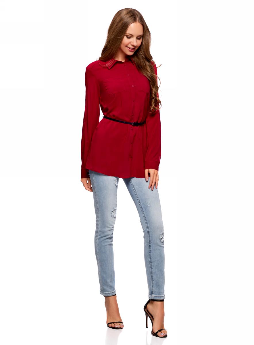 Блузка жен oodji Collection, цвет: красный. 21412057-4B/24681/4501N. Размер 42-170 (48-170)21412057-4B/24681/4501NТуника вискозная с ремнем