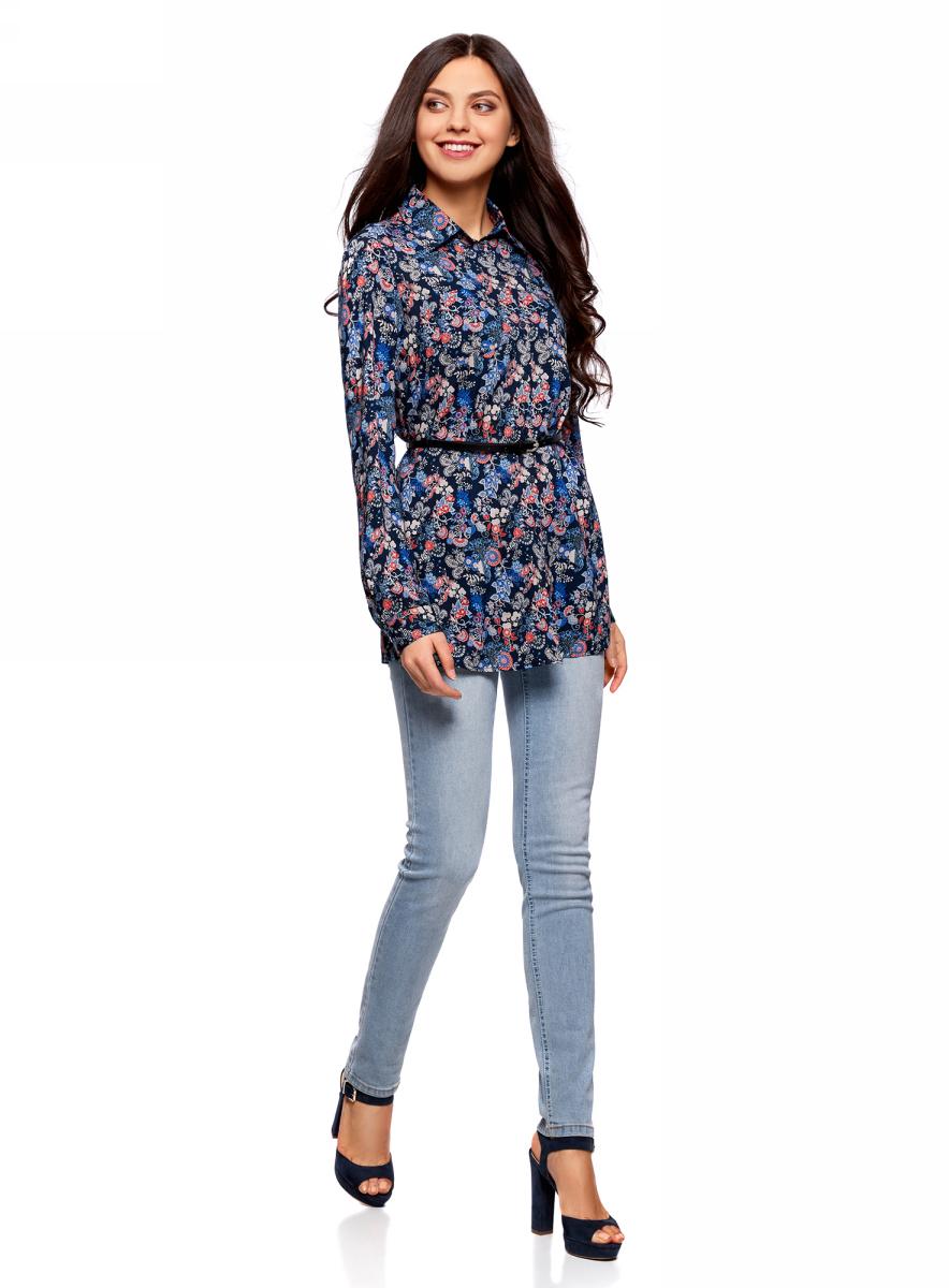 Блузка жен oodji Collection, цвет: темно-синий, красный, цветы. 21412057-4B/24681/7945F. Размер 36-170 (42-170)21412057-4B/24681/7945FТуника вискозная с ремнем