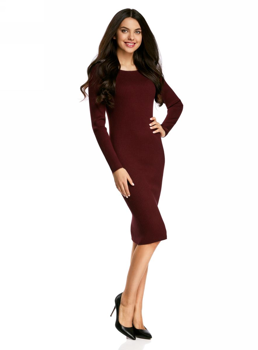Платье жен oodji Collection, цвет: бордовый. 73912207-2B/24525/4900N. Размер XXL (52)73912207-2B/24525/4900NПлатье вязаное в рубчик