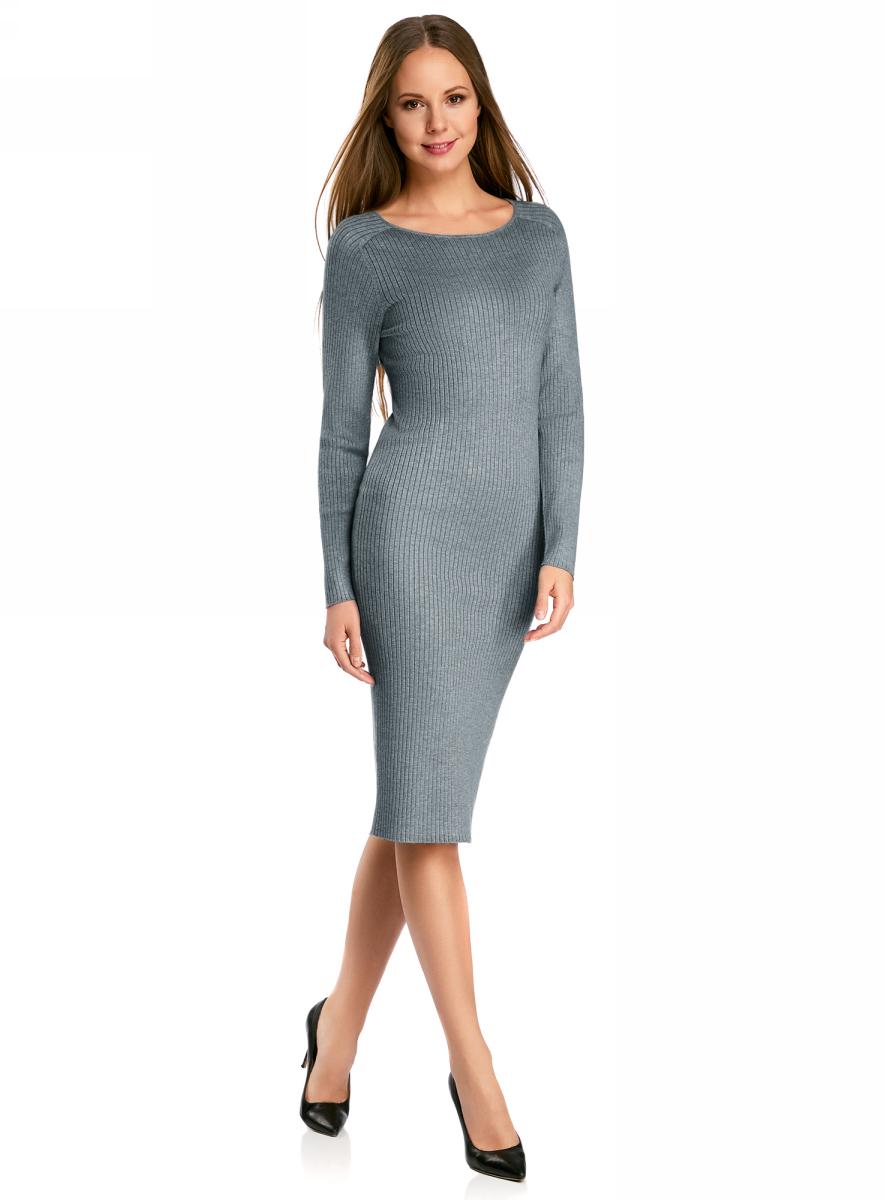 Платье жен oodji Collection, цвет: серый меланж. 73912207-2B/45647/2300M. Размер XS (42)73912207-2B/45647/2300MПлатье вязаное в рубчик