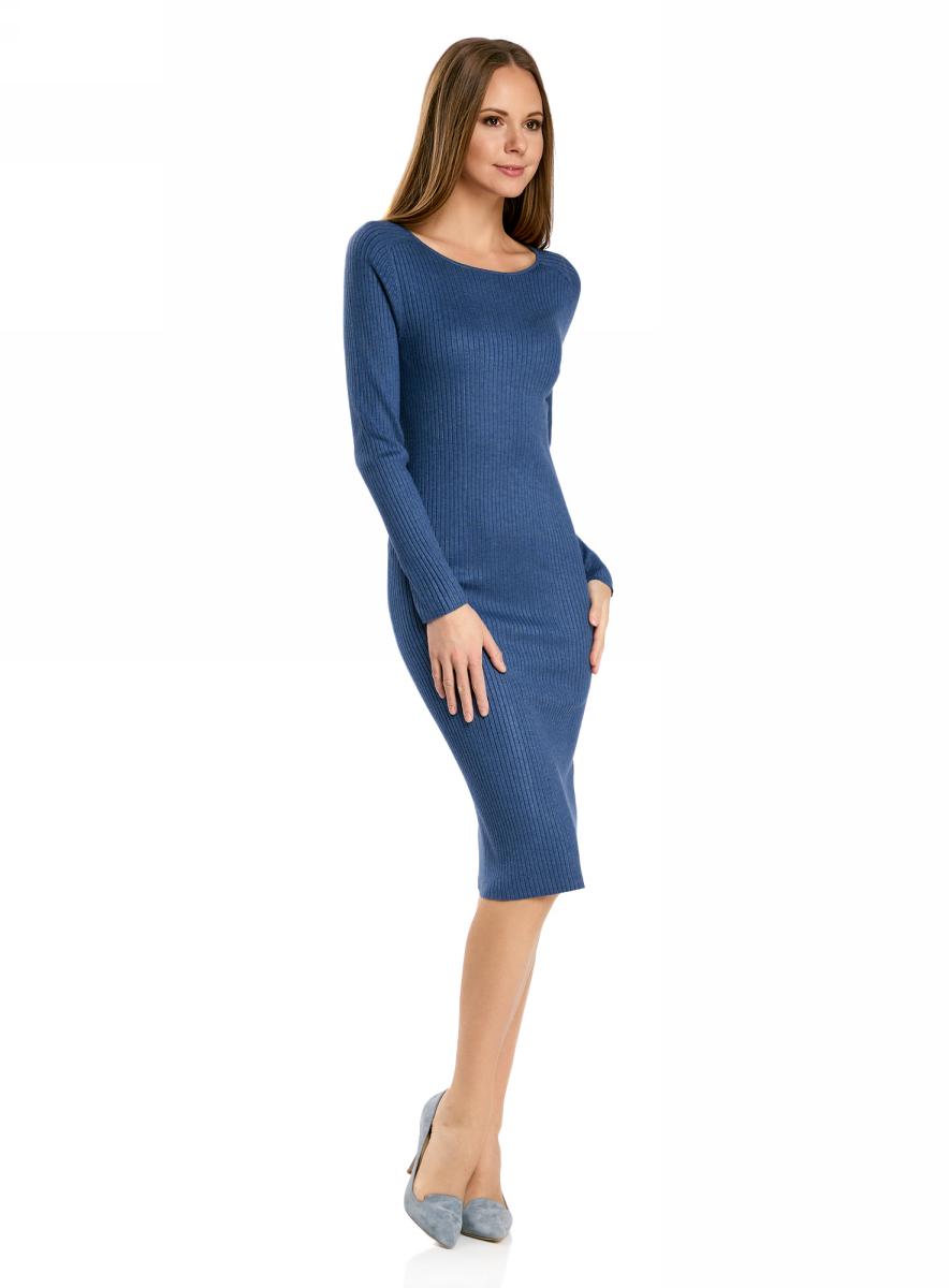 Платье жен oodji Collection, цвет: синий меланж. 73912207-2B/45647/7500M. Размер XL (50)73912207-2B/45647/7500MПлатье вязаное в рубчик