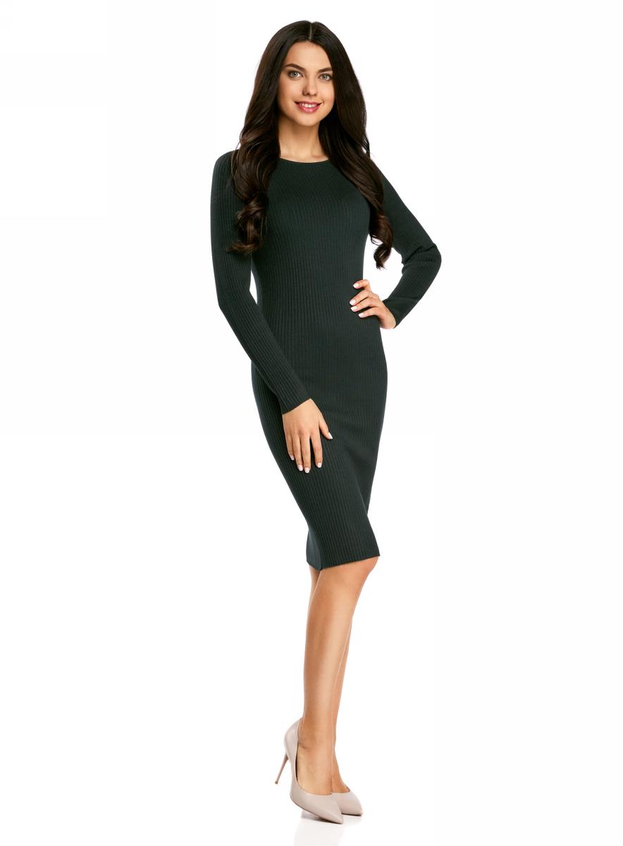 Платье жен oodji Collection, цвет: темно-изумрудный. 73912207-2B/24525/6E00N. Размер XL (50)73912207-2B/24525/6E00NПлатье вязаное в рубчик