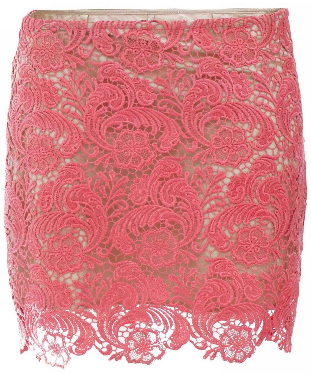 Юбка жен oodji Ultra, цвет: ярко-розовый. 11601161/26378/4D00L. Размер 36-170 (42-170)11601161/26378/4D00LЮбка
