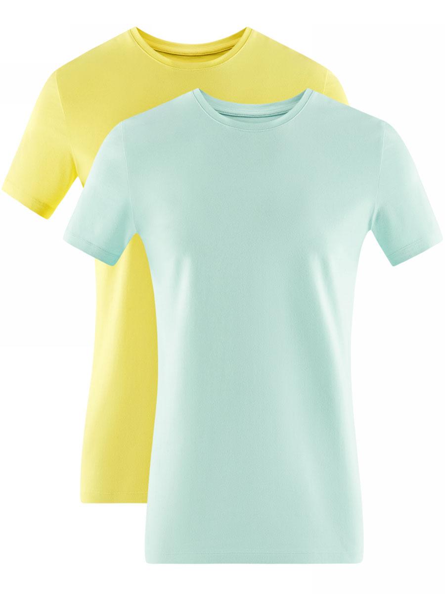 Футболка муж oodji Basic, цвет: желтый, мятный, 2 шт. 5B611004T2/46737N/1904N. Размер XS (44)5B611004T2/46737N/1904NФутболка базовая (комплект из 2 штук)