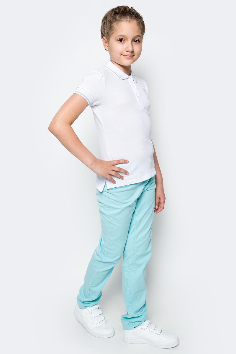 Поло для девочки Button Blue, цвет: белый. 217BBGS14020200. Размер 164, 14 лет217BBGS14020200Прекрасная альтернатива блузке - белое поло! По удобству и комфорту, поло для девочки в школу не менее удобно, чем футболка с коротким рукавом, но поло выглядит строже и наряднее. Небольшой цветовой акцент, внутренняя планка, придает модели изюминку.