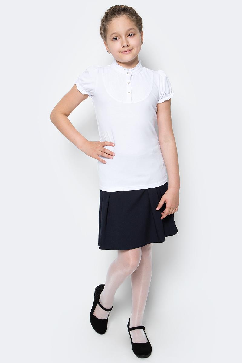 Блузка для девочки Scool, цвет: белый. 374496. Размер 164, 14 лет374496Блузка для девочки Scool выполнена из эластичного хлопка. Блузка с воротником-стойкой и короткими рукавами-фонариками украшена кружевной вставкой.