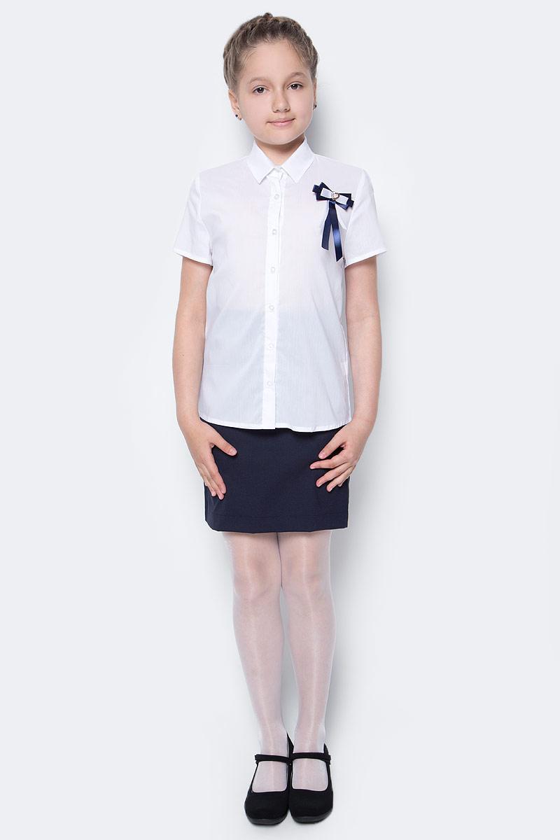 Рубашка для девочки Nota Bene, цвет: белый. CWR27021B01. Размер 146CWR27021B01/CWR27021A01Стильная рубашка для девочки от Nota Bene выполнена из хлопка и полиэстера с добавлением лайкры. Модель с отложным воротником и короткими рукавами застегивается на пуговицы по всей длине.