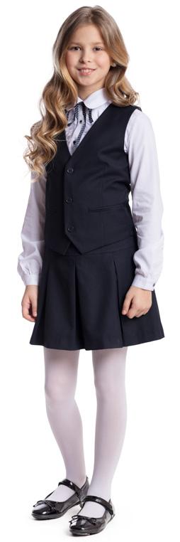 Комплект для девочки Scool: жилет, юбка, цвет: темно-синий. 374443. Размер 140, 10 лет374443Комплект для девочки Scool, изготовленный из полиэстера и вискозы, состоит из жилета и юбки. Комплект подойдет для официальных и праздничных мероприятий, а также сможет быть одной из базовых вещей школьного гардероба ребенка. Жилет с V-образным вырезом горловины застегивается на пуговицы. На спинке жилета расположен удобный регулируемый ремешок, который позволит изделию хорошо сесть по фигуре. Модель на подкладке имеет небольшие вшивные карманы. Юбка застегивается в боковой части на молнию. Изделие декорировано бантовыми складками.