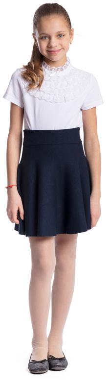 Блузка для девочки Scool, цвет: белый. 374501. Размер 128, 8 лет374501Блузка для девочки Scool выполнена из эластичного хлопка. Блузка с воротником-стойкой и короткими рукавами застегивается сзади на пуговицу. Модель декорирована кружевными вставками и атласным бантиком.