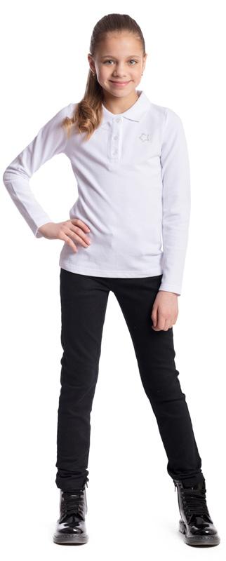 Поло для девочки Scool, цвет: белый. 374506. Размер 158, 13 лет374506Поло для девочки Scool изготовлено из натурального хлопка. Свободный крой не сковывает движения ребенка. Аккуратные швы не вызывают раздражений. Модель с отложным воротником и длинными рукавами застегивается на пуговицы. Изделие декорировано небольшой аппликацией из стразов.