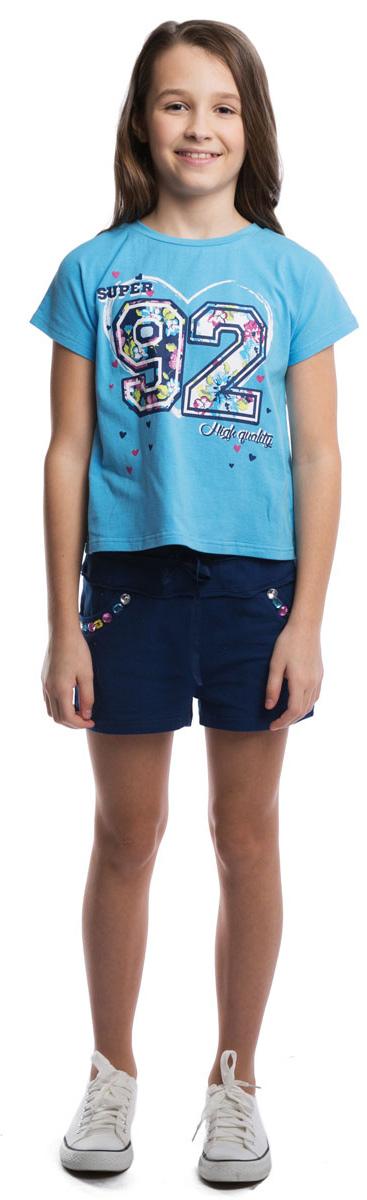 Футболка для девочки Scool, цвет: голубой. 264015. Размер 146264015Мягкая укороченная футболка для жаркого лета с трикотажной резинкой на воротнике. Модель оформлена резиновым принтом с цветочным узором.