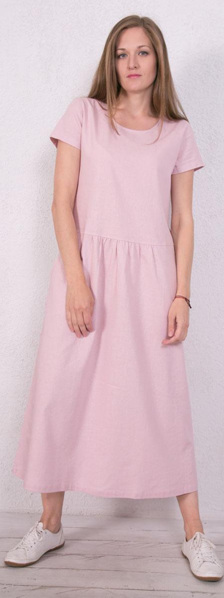 Платье домашнее Marusя, цвет: розовый. 171223. Размер 44171223Домашнее платье Marusя изготовлено из натурального льна. Изделие длины макси свободного кроя с короткими рукавами. Модель дополнена карманами.