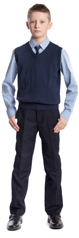 Жилет для мальчика Scool, цвет: темно-синий. 373422. Размер 158, 13 лет373422Жилет для мальчика Scool изготовлен из мягкой и тактильно приятной ткани. Жилет с V-образным вырезом горловины сможет быть одной из базовых вещей повседневного школьного гардероба ребенка. Проймы рукавов и низ модели связаны резинкой.