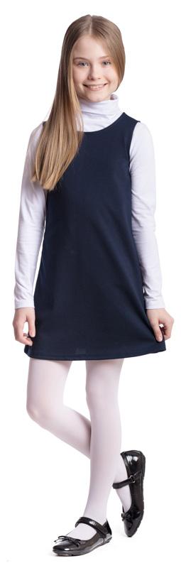 Сарафан для девочки Scool, цвет: темно-синий. 374475. Размер 122, 7 лет374475Сарафан для девочки Scool выполнен из полиэстера, вискозы и эластана. Модель с круглым вырезом горловины застегивается по спинке на молнию. Удобный практичный сарафан в деловом стиле подойдет для официальных и праздничных мероприятий, а также сможет быть одной из базовых вещей школьного гардероба ребенка.