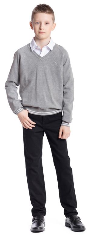 Пуловер для мальчика Scool, цвет: серый меланж. 373414. Размер 122, 7 лет373414Пуловер для мальчика Scool изготовлен из мягкой и тактильно приятной ткани. Модель с V-образным вырезом горловины и длинными рукавами-реглан дополнит повседневный школьный гардероб ребенка. За счет специальной вставки из уплотненной ткани контрастного цвета, горловина изделия не растягивается и не деформируется. Манжеты и низ пуловера выполнены в технике Yarn Dyed - в процессе производства используются нити разного цвета. В качестве небольшого декора использована аппликация.