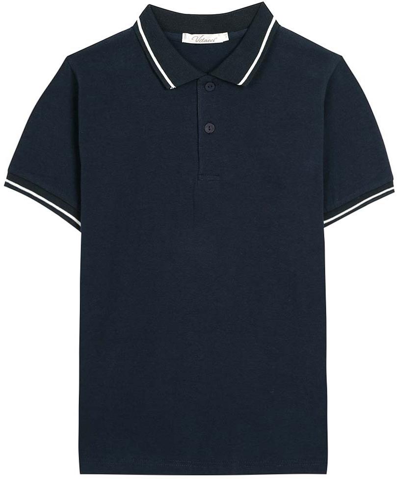 Поло для мальчика Vitacci, цвет: темно-синий. 1173010M-04. Размер 1521173010M-04Футболка-поло для мальчика выполнена из хлопка и эластана. Модель с отложным воротником и короткими рукавами застегивается на пуговицы.