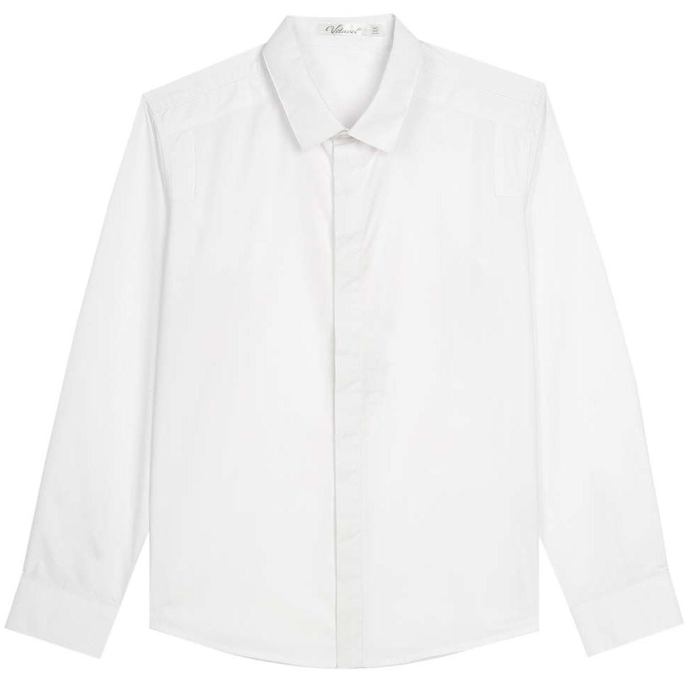 Рубашка для мальчика Vitacci, цвет: белый. 1173017М-01. Размер 1701173017М-01Рубашка для мальчика выполнена из хлопка и спандекса. Модель с отложным воротником и длинными рукавами застегивается на пуговицы.