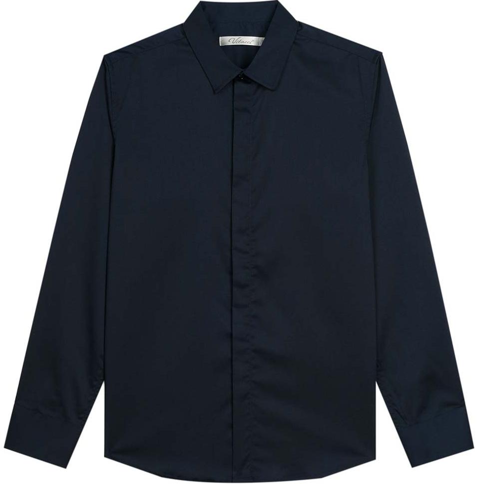 Рубашка для мальчика Vitacci, цвет: темно-синий. 1173018-04. Размер 1281173018-04Рубашка для мальчика выполнена из хлопка и полиэстера. Модель с отложным воротником и длинными рукавами застегивается на пуговицы.