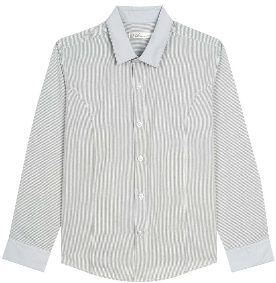 Рубашка для мальчика Vitacci, цвет: серый. 1173020-02. Размер 1341173020-02Рубашка для мальчика выполнена из хлопка и полиэстера. Модель с длинными рукавами застегивается на пуговицы.