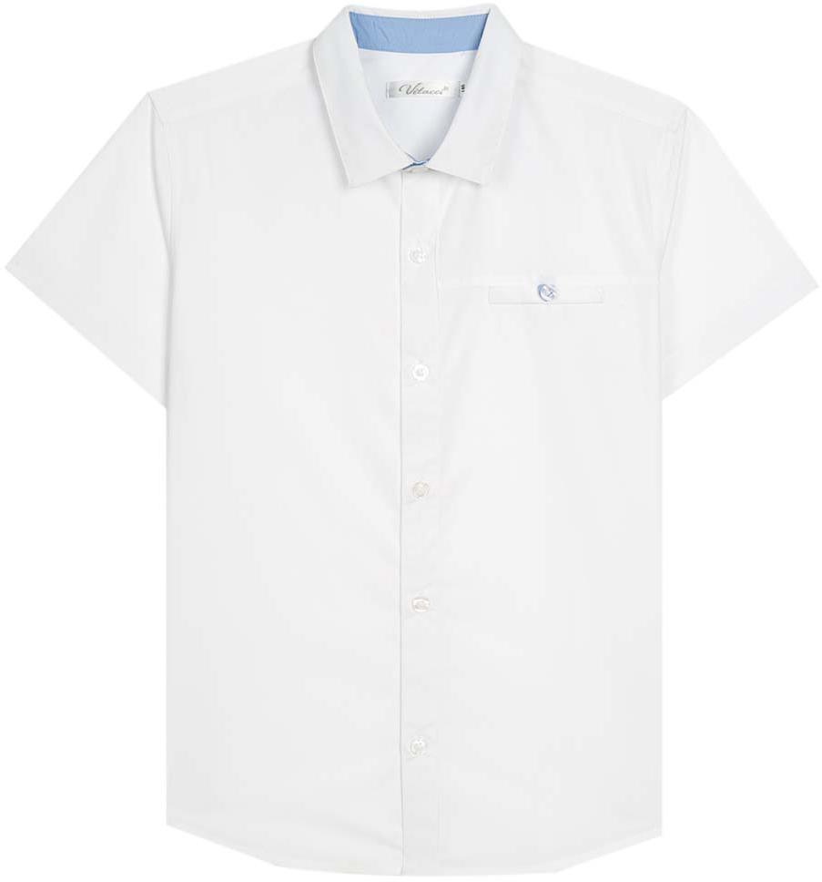 Рубашка для мальчика Vitacci, цвет: белый. 1173027М-01. Размер 1761173027М-01Рубашка для мальчика выполнена из хлопка. Модель с отложным воротником и короткими рукавами застегивается на пуговицы.