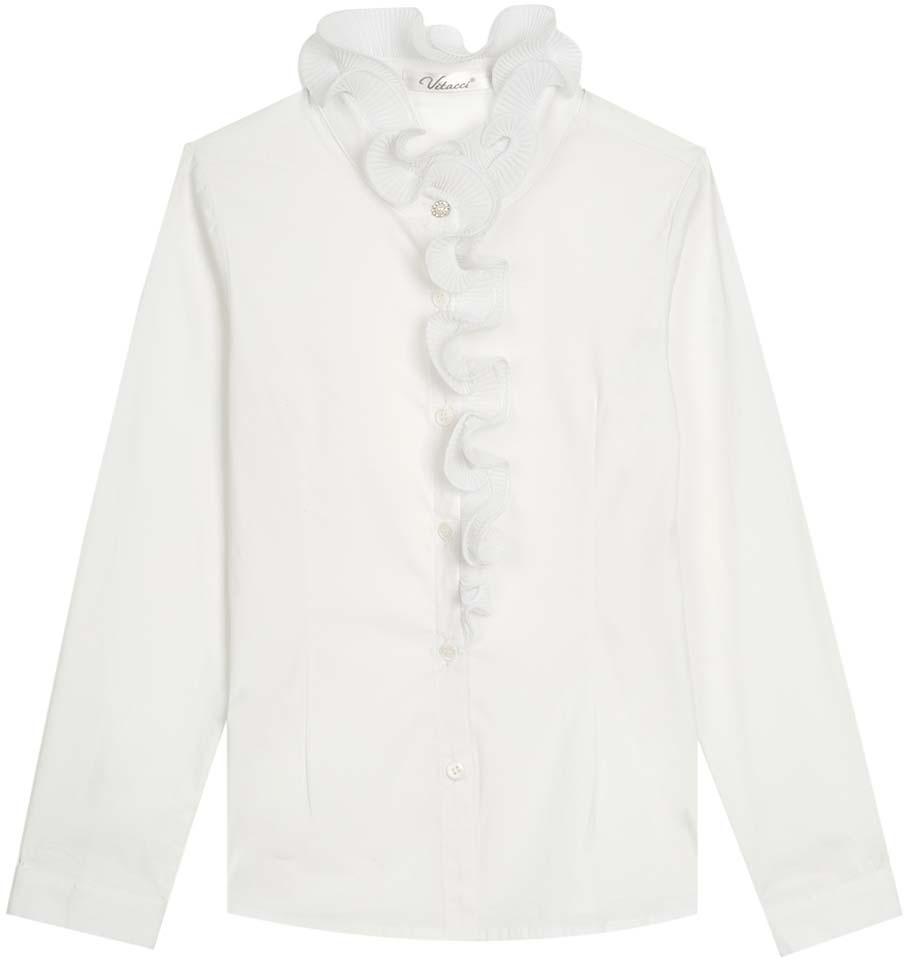Блузка для девочки Vitacci, цвет: белый. 2173010-01. Размер 1522173010-01Школьная блузка для девочки из выполнена их хлопка и эластана. Модель с длинными рукавами застегивается на пуговицы.