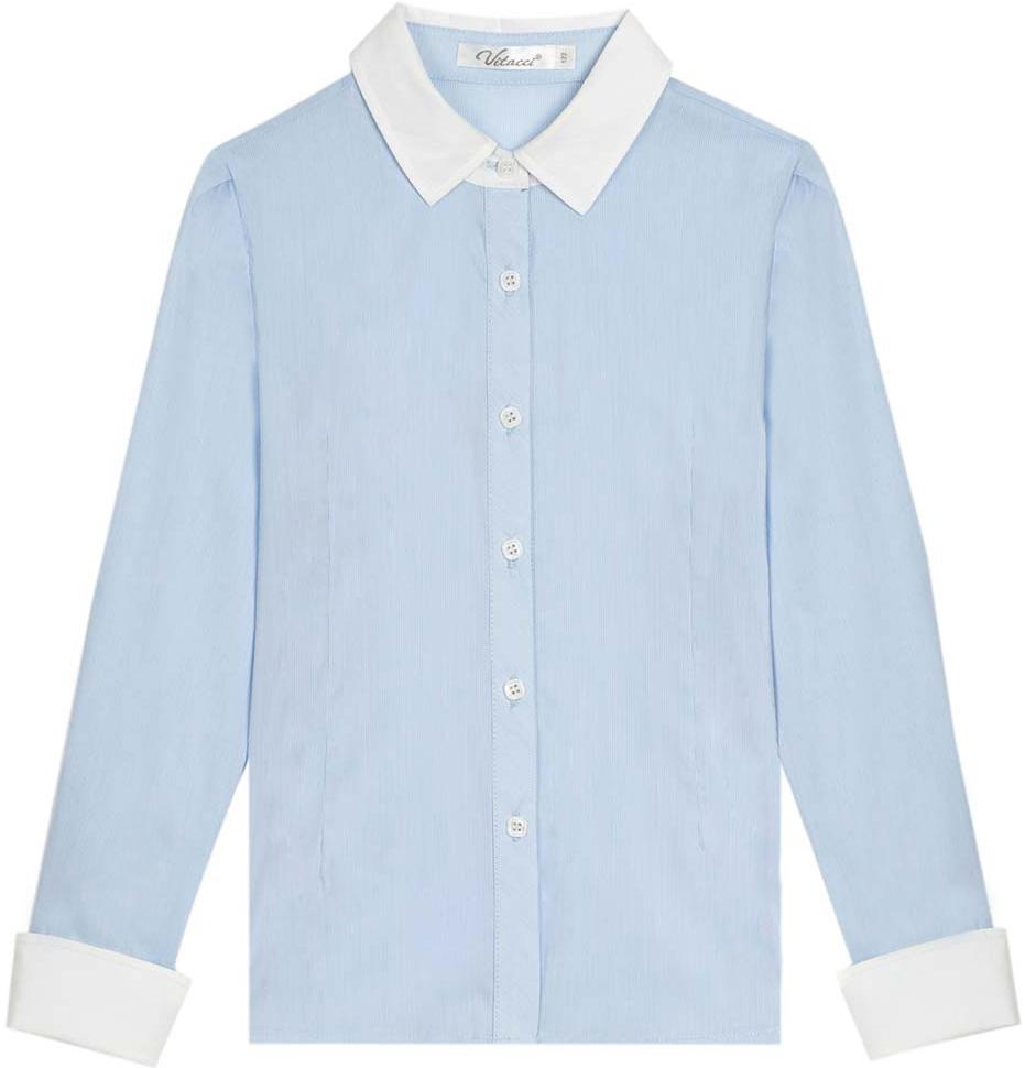 Блузка для девочки Vitacci, цвет: голубой. 2173025L-10. Размер 1522173025L-10Классическая школьная блузка для девочки выполнена из качественного материала. Модель с отложным воротником и длинными рукавами застегивается на пуговицы.