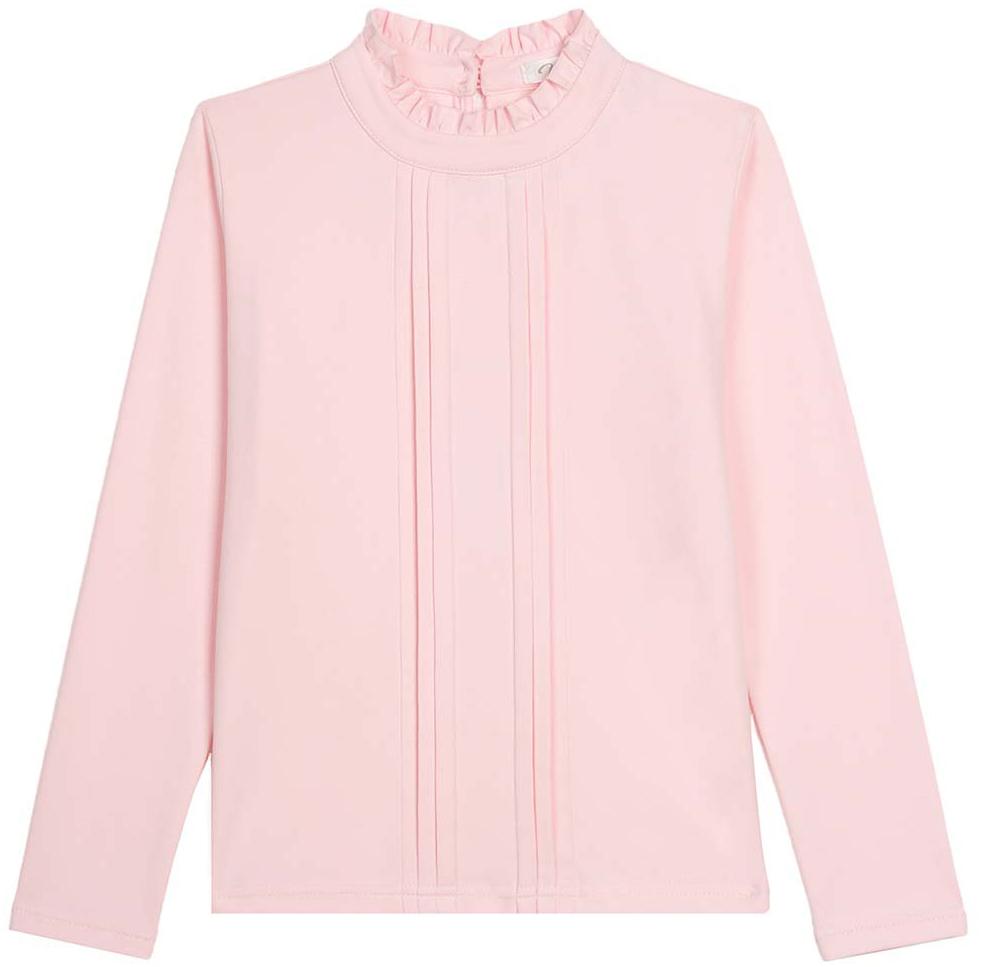 Блузка для девочки Vitacci, цвет: розовый. 2173056-11. Размер 1462173056-11Классическая школьная блузка для девочки выполнена из хлопка и спандекса. Модель с воротником стойкой и длинными рукавами.
