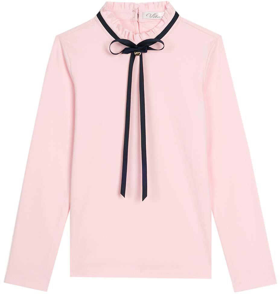 Блузка для девочки Vitacci, цвет: розовый. 2173058-11. Размер 1222173058-11Классическая школьная блузка для девочки выполнена из хлопка и спандекса. Модель с длинными рукавами оформлена ленточкой.