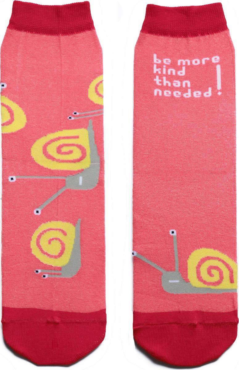 Носки детские Big Bang Socks, цвет: розовый. ca1611. Размер 30/34ca1611Яркие носки с несимметричным принтом улитка и надписью be more kinde than needed (будь более добрым, чем нужно)