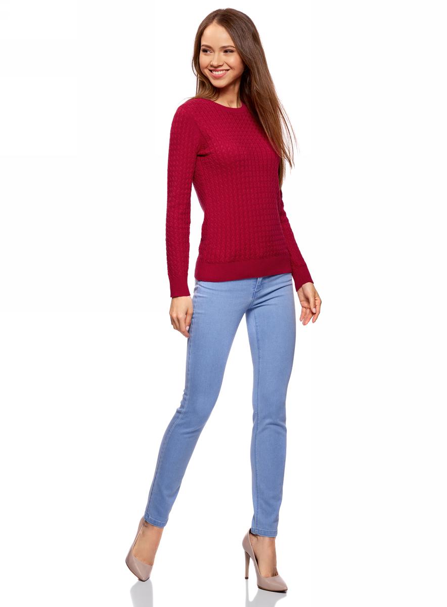 Джемпер женский oodji Collection, цвет: бордовый. 73812624-1B/46139/4900N. Размер XS (42)73812624-1B/46139/4900NДжемпер фактурной вязки в мелкую косичку