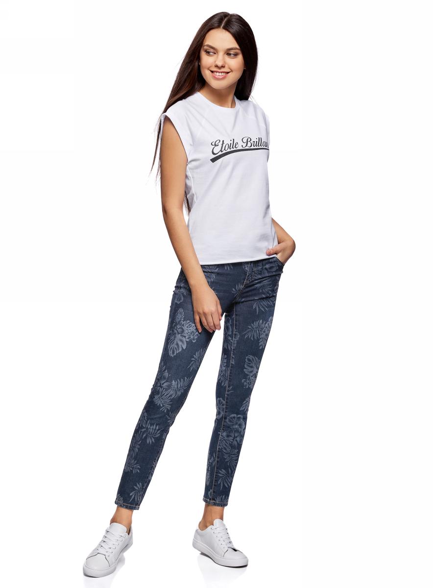 Джинсы женские oodji Ultra, цвет: темно-синий джинс. 12106147/46810/7900W. Размер 28-30 (46-30)12106147/46810/7900WДжинсы скинни принтованные