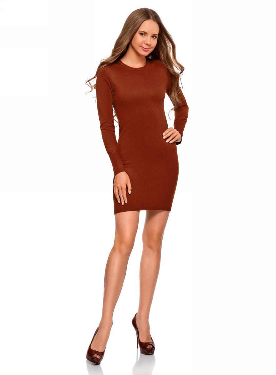 Платье женское oodji Collection, цвет: бордовый. 73912217-2B/33506/4900N. Размер M (46)73912217-2B/33506/4900NПлатье вязаное базовое