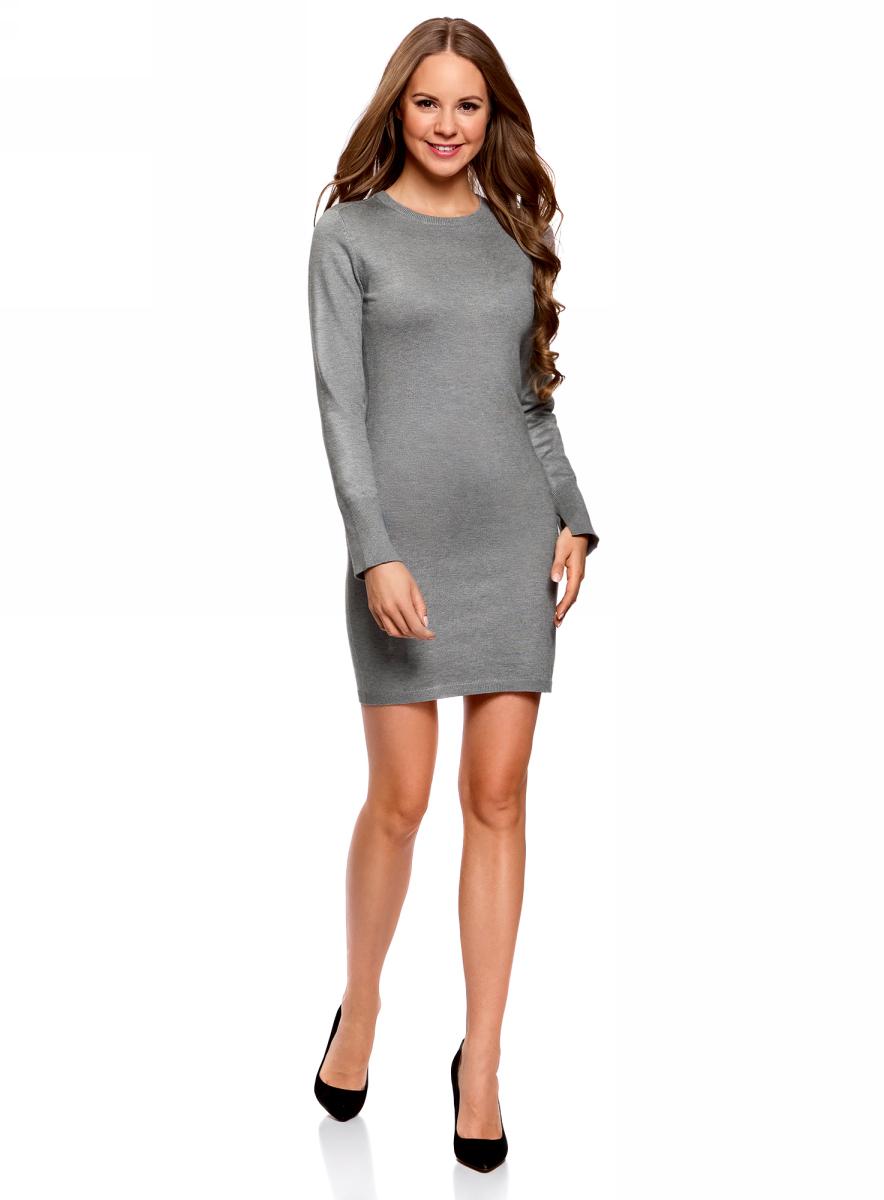 Платье женское oodji Collection, цвет: серый меланж. 73912217-2B/33506/2300M. Размер L (48)73912217-2B/33506/2300MПлатье вязаное базовое