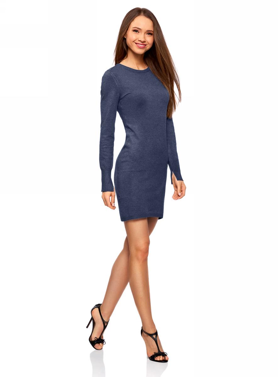 Платье женское oodji Collection, цвет: синий меланж. 73912217-2B/33506/7500M. Размер XXL (52)73912217-2B/33506/7500MПлатье вязаное базовое