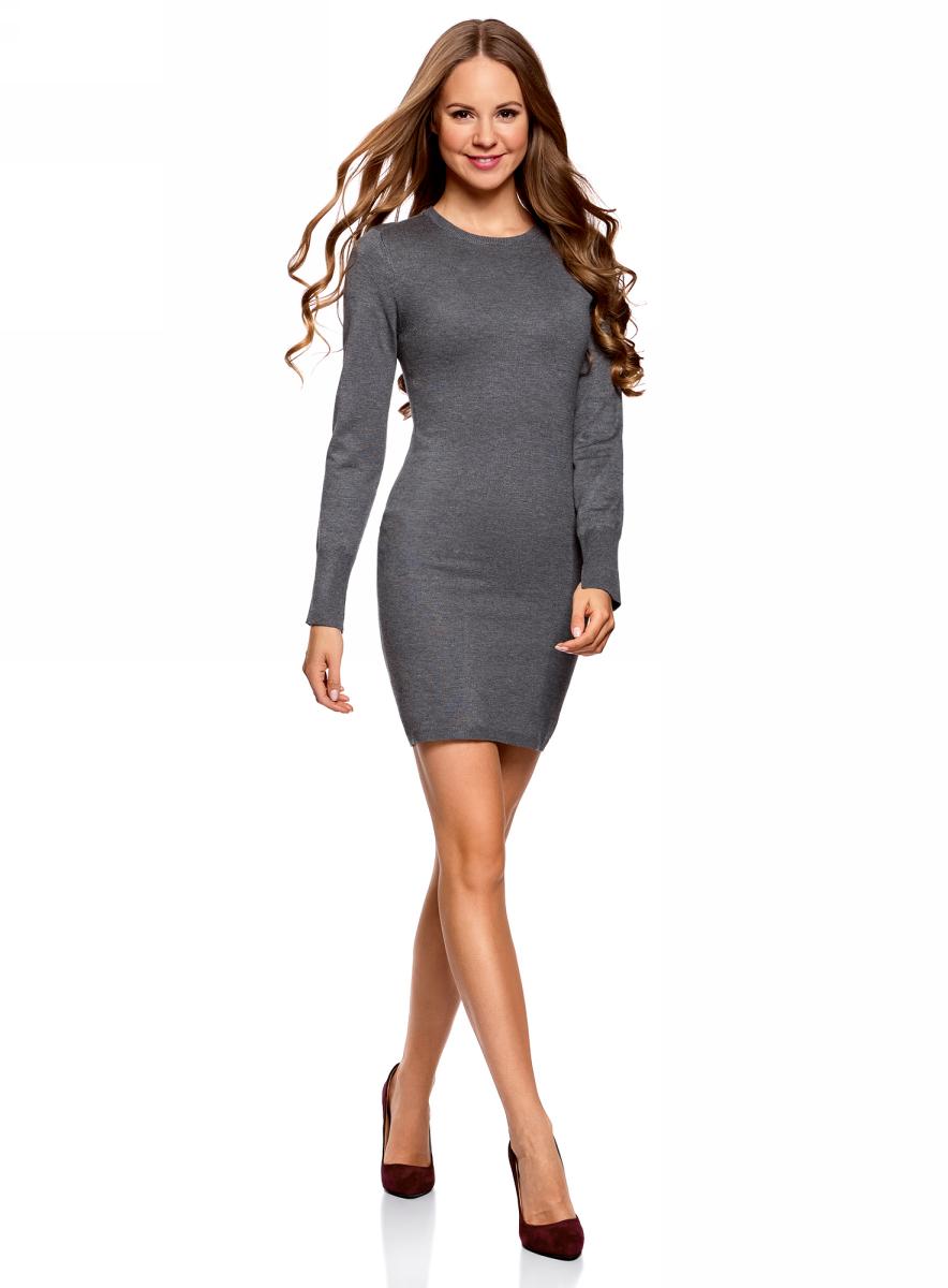 Платье женское oodji Collection, цвет: темно-серый меланж. 73912217-2B/33506/2500M. Размер M (46)73912217-2B/33506/2500MПлатье вязаное базовое