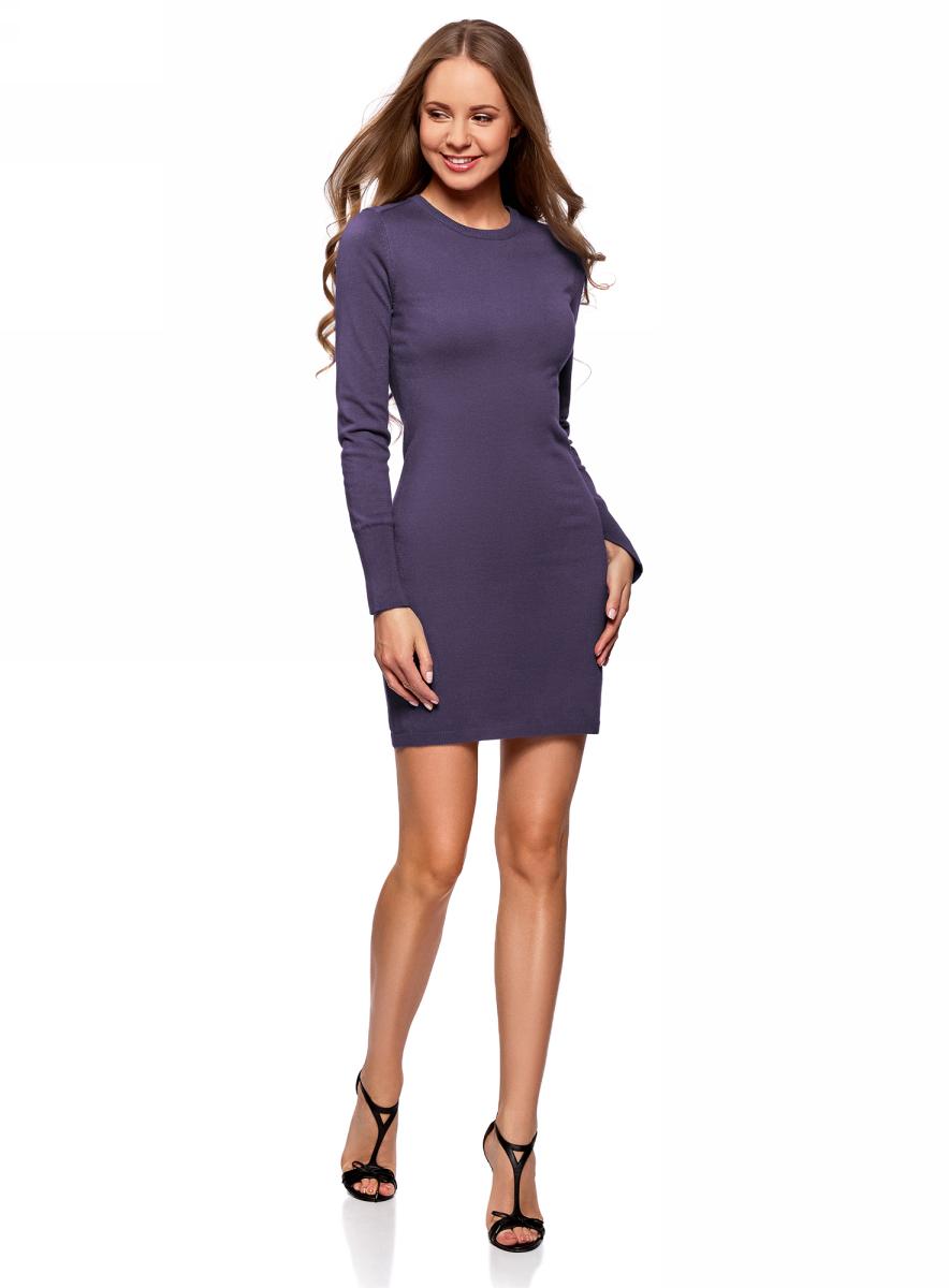 Платье женское oodji Collection, цвет: темно-синий. 73912217-2B/33506/7900N. Размер L (48)73912217-2B/33506/7900NПлатье вязаное базовое