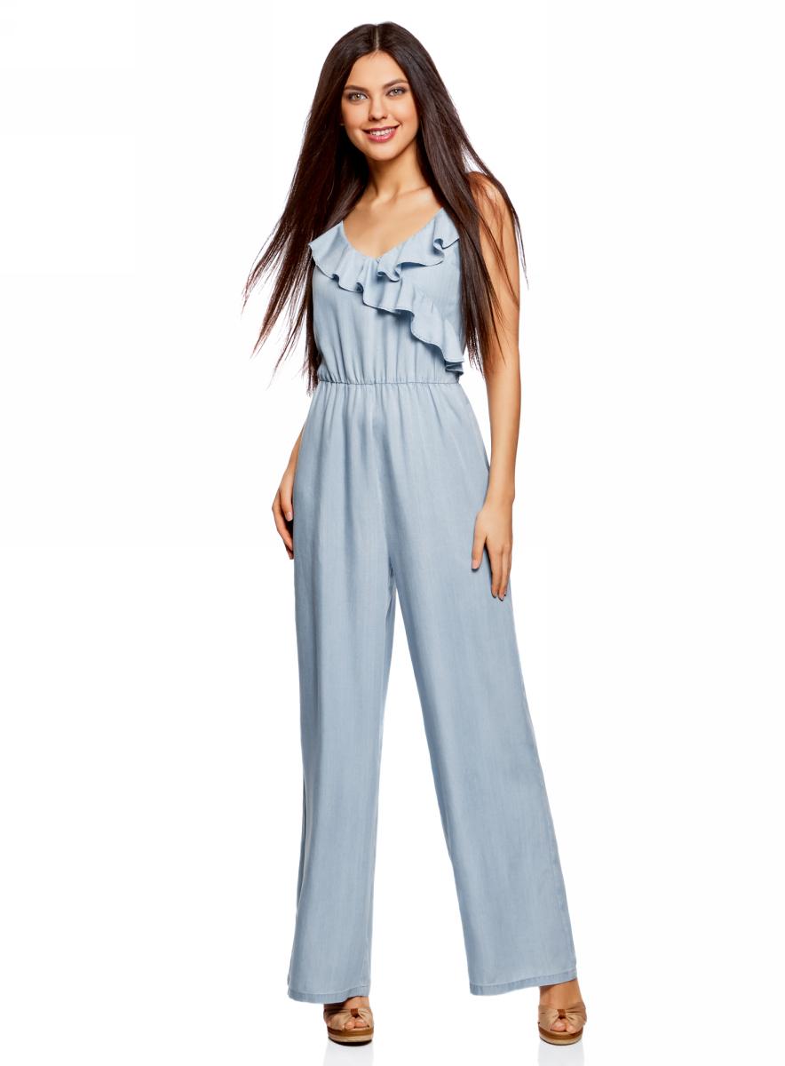 Полукомбинезон женский oodji Ultra, цвет: голубой джинс. 13108006/42579/7000W. Размер 34-170 (40-170)13108006/42579/7000WКомбинезон из лиоцелла с воланами