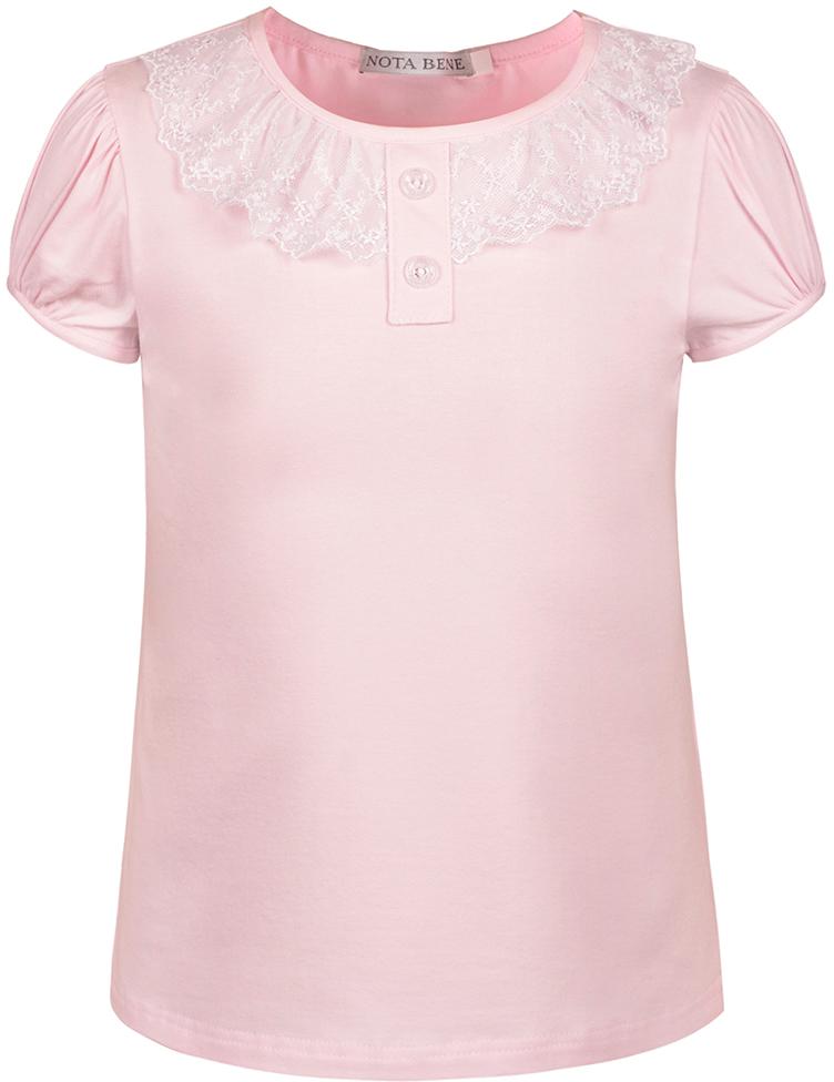 Блузка для девочки Nota Bene, цвет: светло-розовый. CJR27032B56. Размер 164CJR27032A56/CJR27032B56Блузка для девочки Nota Bene выполнена из хлопкового трикотажа с кружевной отделкой. Модель с короткими рукавами и круглым вырезом горловины.