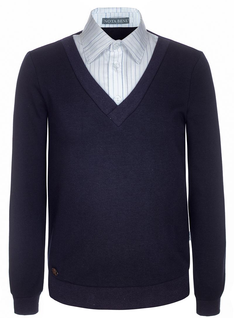 Джемпер для мальчика Nota Bene, цвет: темно-синий. CJK17017B29. Размер 158CJK17017A29/CJK17017B29Джемпер для мальчика Nota Bene выполнен из хлопкового трикотажа. Модель 2-в-1 с длинными рукавами дополнена вставкой, имитирующей рубашку.