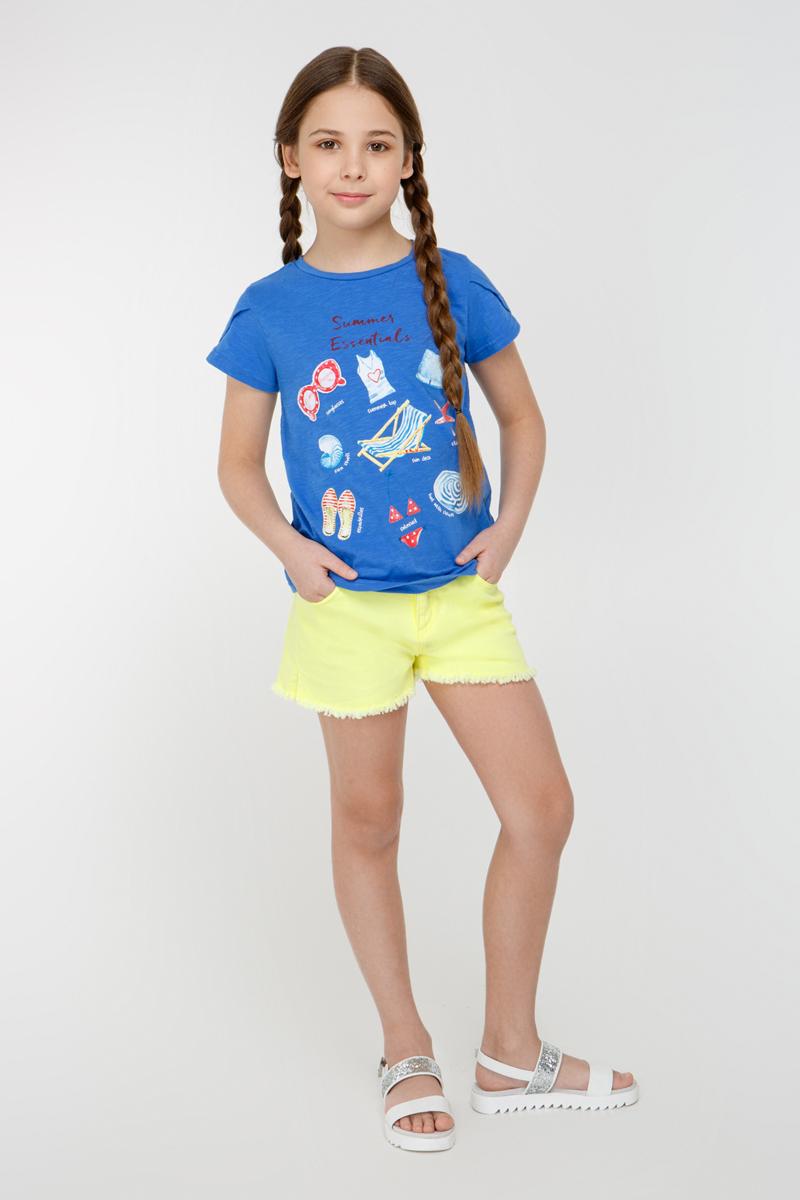 Футболка для девочки Overmoon Flamenco 1, цвет: синий. 21210110008_500. Размер 16421210110008_500На ребенке представлен размер 140:- Ширина изделия по линии груди 36,5 см- Ширина по низу изделия 39 см- Длина изделия 50 смРазница между размерами составляет 1,5 см.Трикотажная футболка декорированная ярким принтом спереди. Модель с круглым вырезом горловины и короткими рукавами-тюльпан.