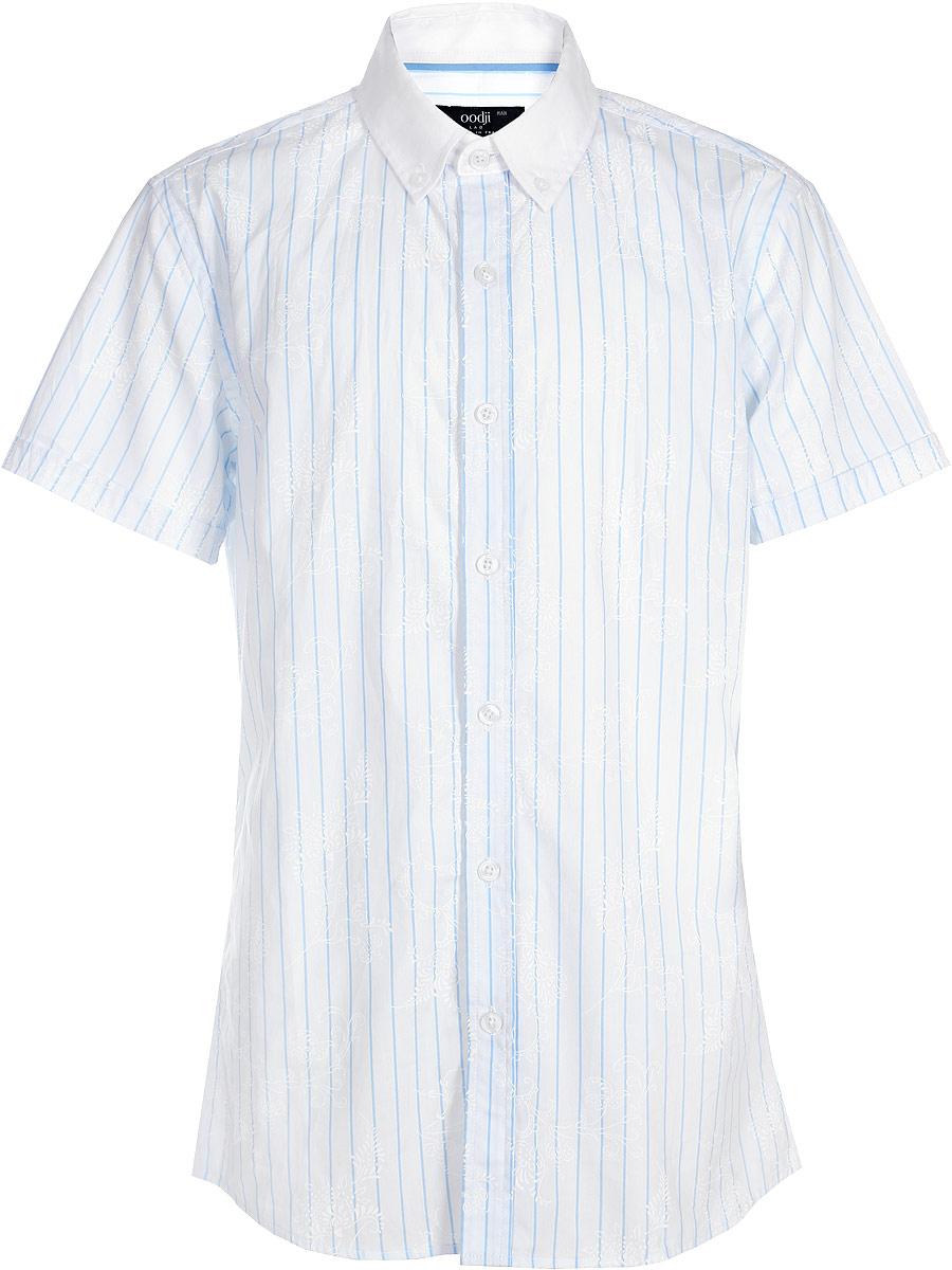 Рубашка муж oodji Lab, цвет: голубой, белый, цветы. 3L210005M/19370N/7010F. Размер 38-176 (44-176)3L210005M/19370N/7010FРубашка