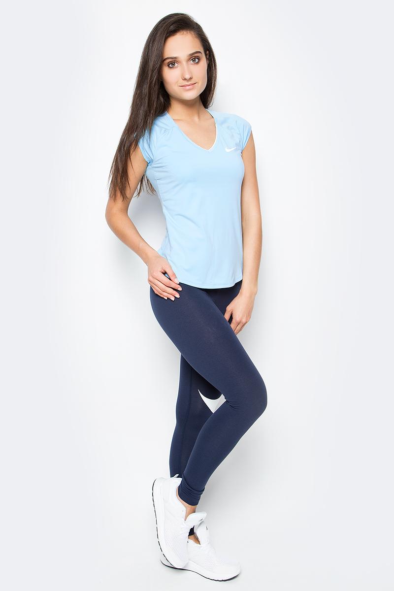 Футболка женская Nike Pure Top, цвет: голубой. 728757-499. Размер S (42/44)728757-499Женская футболка для тенниса Pure Top от Nike выполнена из мягкого текстиля Dri-Fit, отводящего влагу от поверхности тела, сохраняющего тело сухим. Модель прилегающего кроя с короткими рукава-реглан и V-образным вырезом горловины оформлена фирменным логотипом.